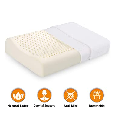 Natural Latex Pillows for Sleeping-[Limited Deal] Cool Breathable Neck Support Foam Pillow, Ergonomic Contour Cervical Pillow for Neck Pain,Supports Side Back Sleepers,Standard Bed Pillow