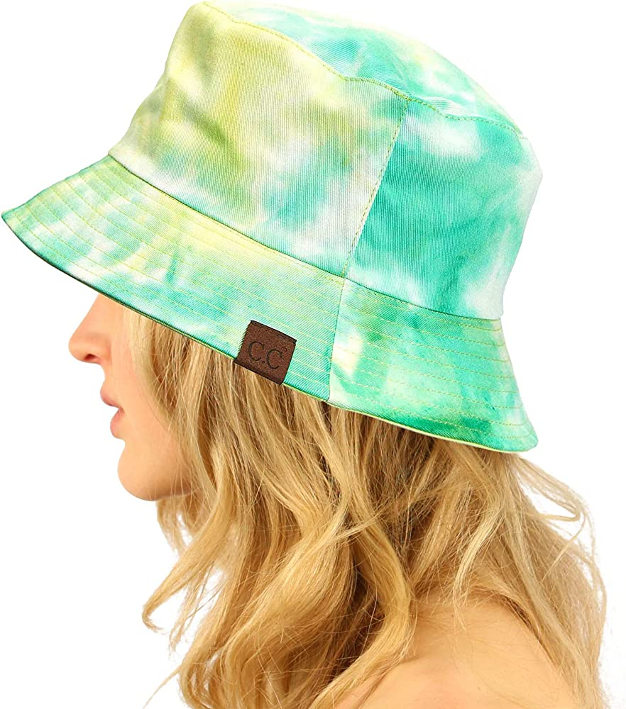 C.C Unisex 100/% Cotton Packable Reversible Tie Dye Bucket Sun Hat