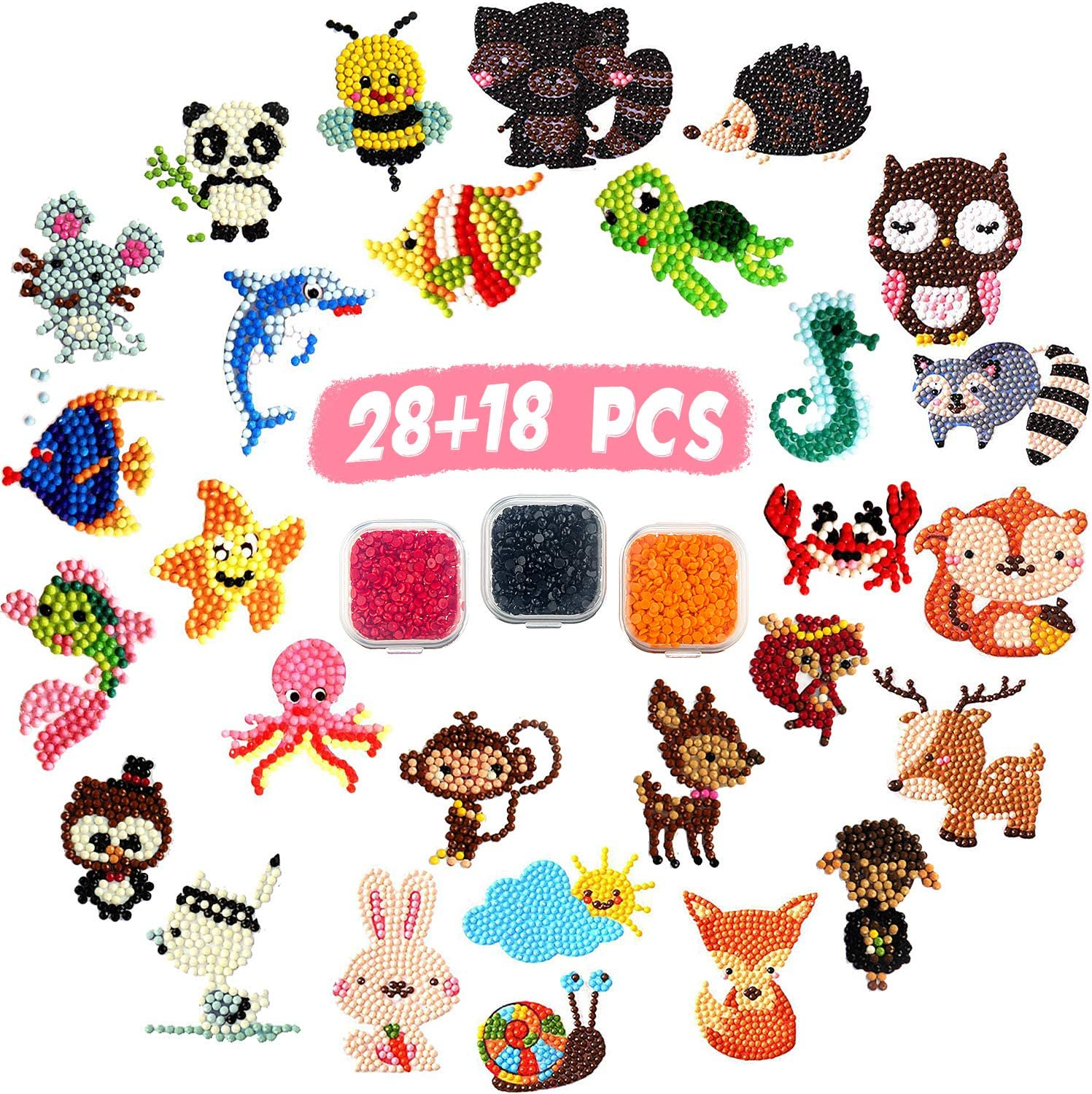 Outus 46 Pieces Diamond Painting Stickers for Kids and Adult Mosaic Stickers by Number Kits Animal Sea World Insect Beginners Crafts Making