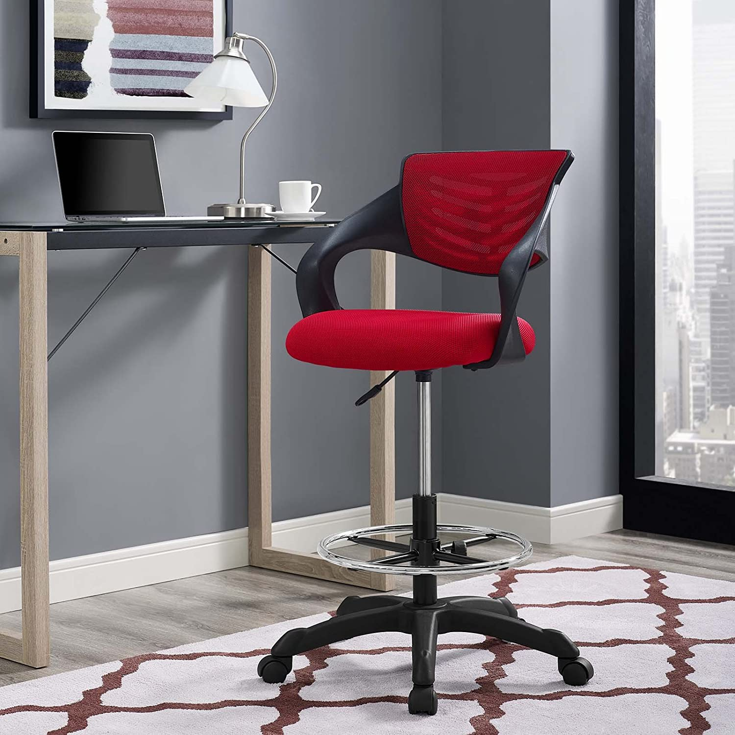 Wondrous Modway Thrive Drafting Chair In Red Reception Desk Chair Tall Office Chair For Adjustable Standing Desks Creativecarmelina Interior Chair Design Creativecarmelinacom