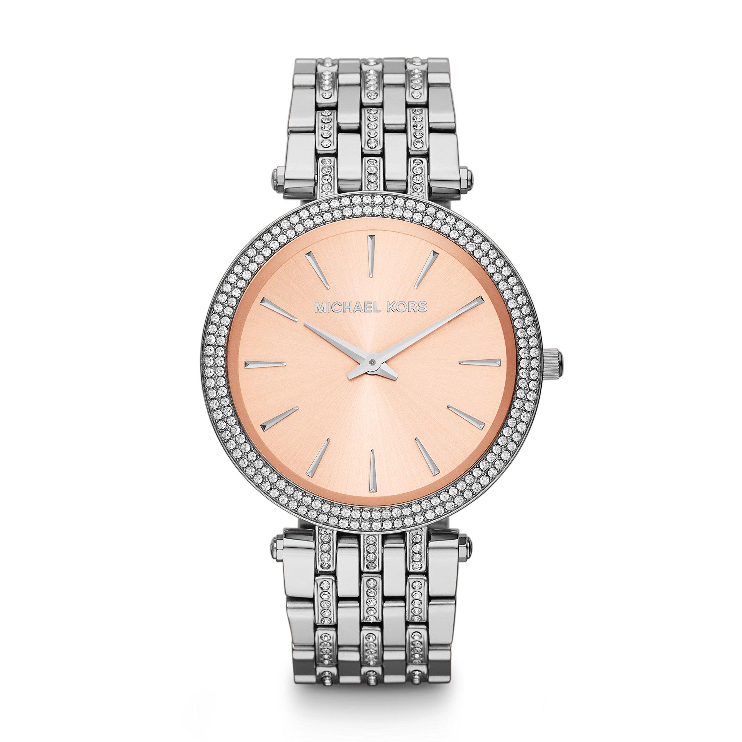 Michael Kors Silver-Tone Glitz Rose Dial Darci Watch