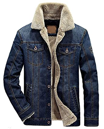 07eb8e68c5be Wintie Men's Classic Fit Blue Faux Shearling Collar Slim Denim Jackets Dark  Blue M
