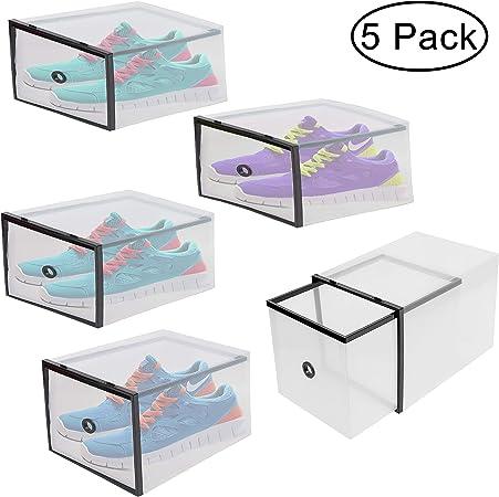 BELLE VOUS Rangement Chaussure - Boite de Rangement Chaussures Transparentes en Plastique Ondul/é Boites a Chaussures Superposables Style Tiroir Boite Plastique Empilable pour Le Voyage 5 Pcs