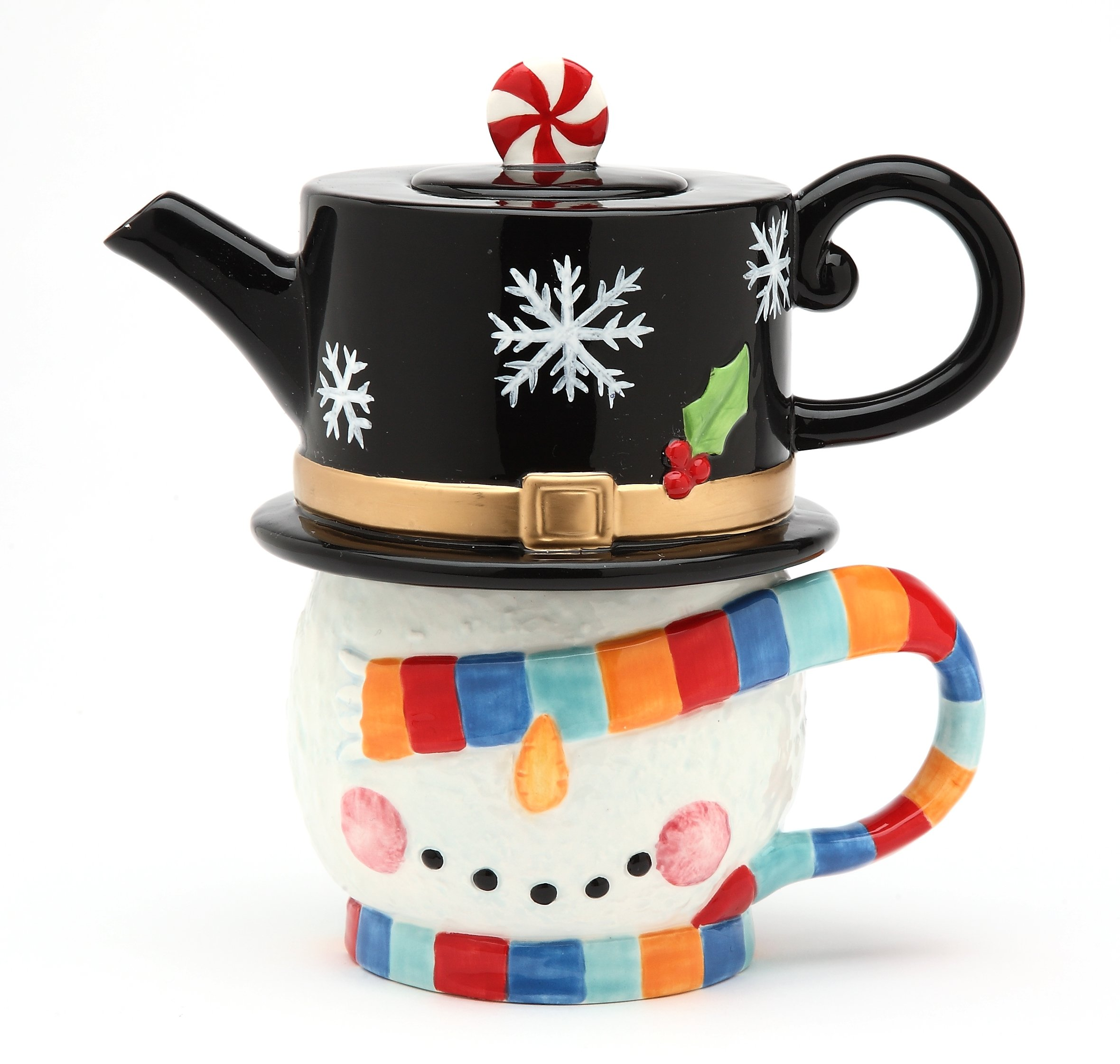 Cosmos Gifts 60913 Fine Ceramic No Peeking Design Snowman Covering with Colorful Scarf Design Tea For One Teapot with Mug Set, 7'' H