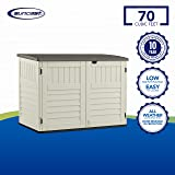 Suncast 5' x 3' Horizontal Stow-Away Storage Shed - Natural Wood-like Outdoor Storage for Trash Cans and Yard Tools - All-Weather Resin, Hinged Lid, Reinforced Floor - Vanilla and Stoney