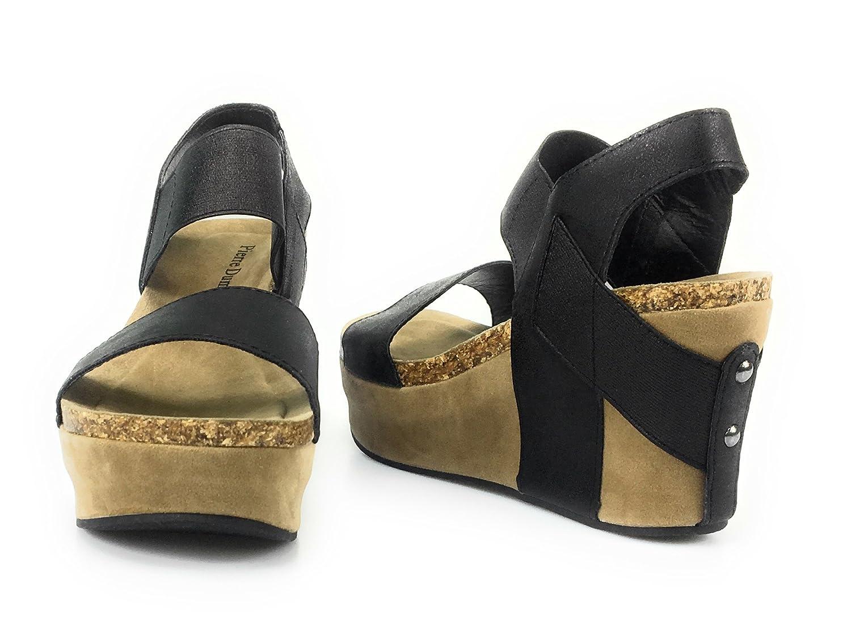 Pierre Dumas Women's Hester-1 Wedge Sandals (8, Black) B074PZTH76 Parent