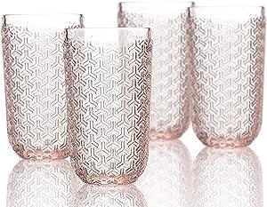 Elle Decor Bistro Key 4 Pc Set Highball, Pink-Glass Elegant Barware and Drinkware, Dishwasher Safe, 14 oz