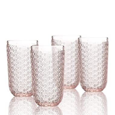 Elle Decor 229806-4HBPU Bistro Key 4 Pc Set Highball, Pink-Glass Elegant Barware and Drinkware, Dishwasher Safe, 14 oz,