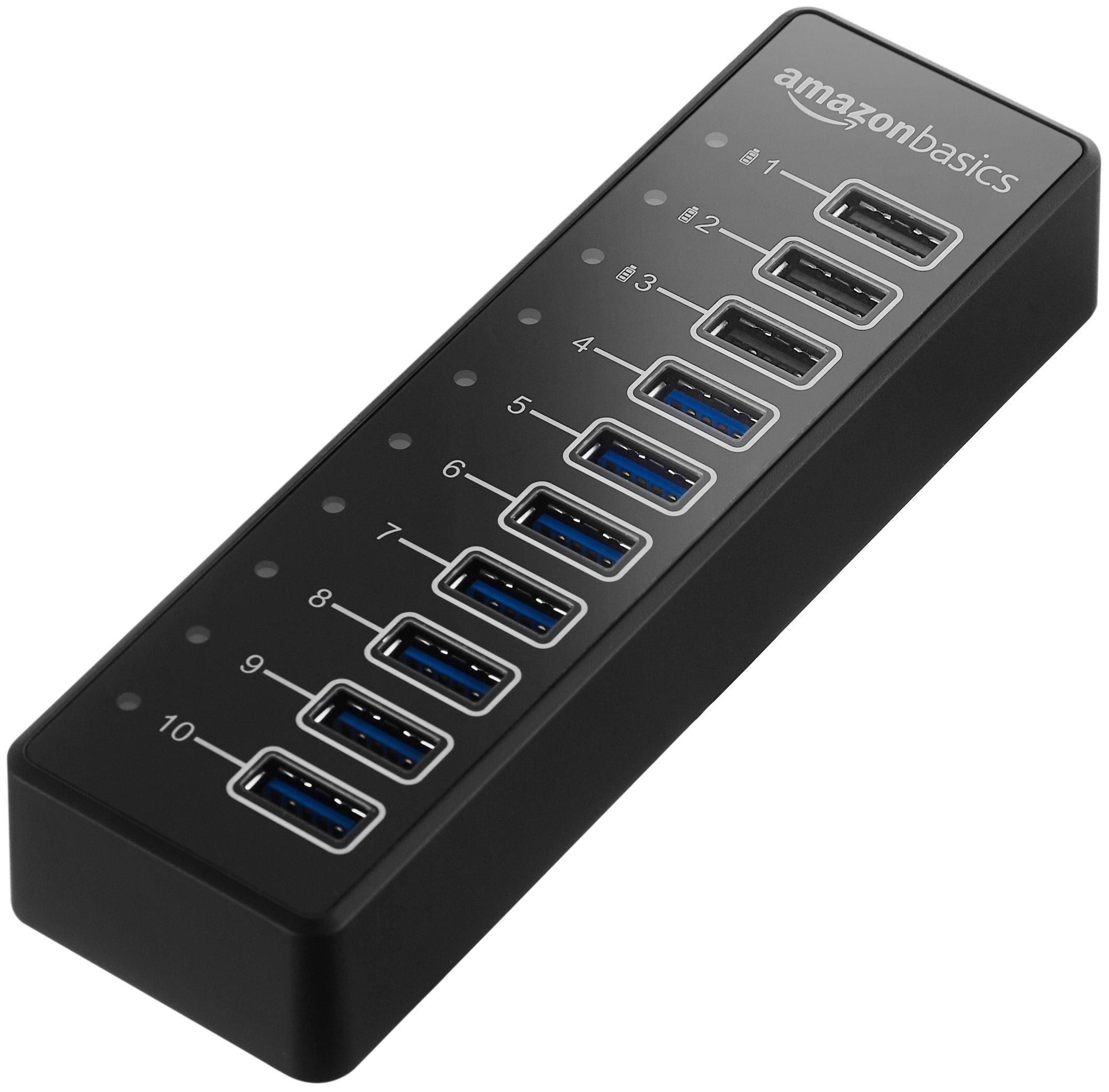 AmazonBasics USB-A 3.1 10-Port Hub with Power Adapter - 65W Powered (20V/3.25A), Black by AmazonBasics