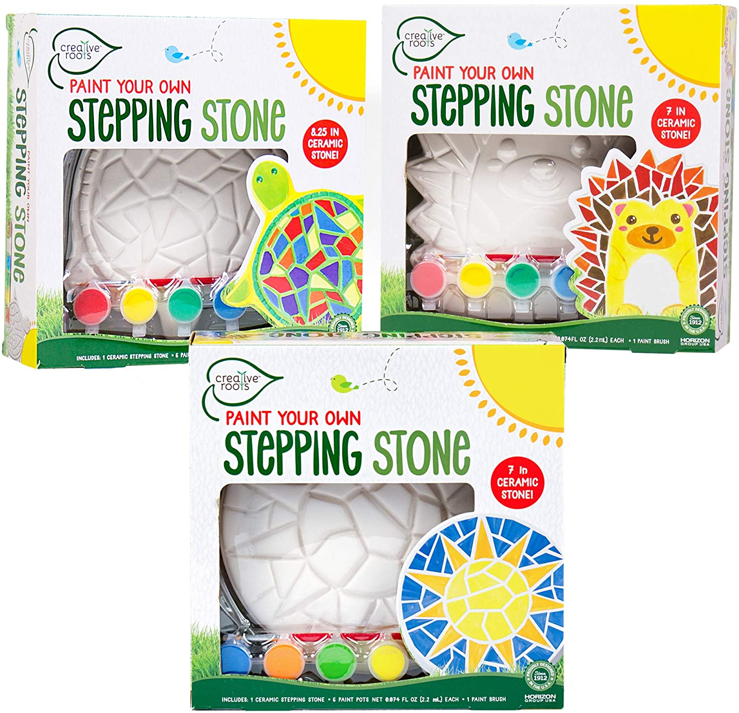 Creative Roots Paint Your Own Stepping Stones Multipack with Turtle, Hedgehog & Sun Stepping Stones by Horizon Group USA