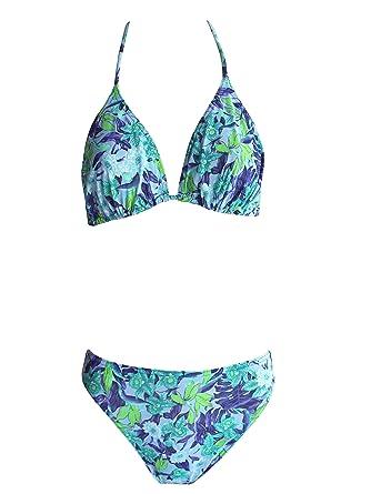 c01aa54490dea9 Solar Tan Thru Triangel-Bikini Blau, 3-Teilig (1 Oberteil + 2 Slips ...