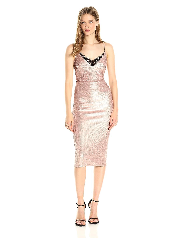 bd07c5ca8d25 ABS Allen Schwartz Women's Sequin Mid-Length Cocktail Dress Lingerie Detail  at Neckline at Amazon Women's Clothing store: