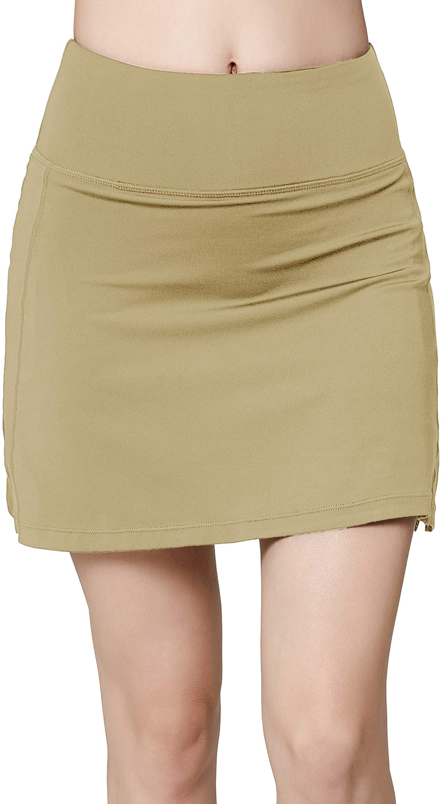 Women's Active Athletic Skirt Sports Golf Tennis Running Pockets Skort Khaki S by Oalka