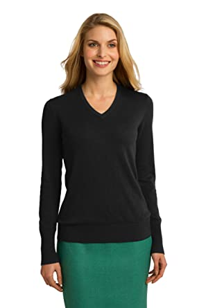 Port Authority Women's V-Neck Sweater at Amazon Women's Clothing ...