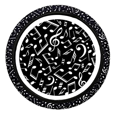 Toppers Black and White Musical Note Steering Wheel Cover for Music Lovers, Musicians or Music Teachers. A Unique Cool Cover for Men or Women. Simple to Install No Tools Needed: Automotive