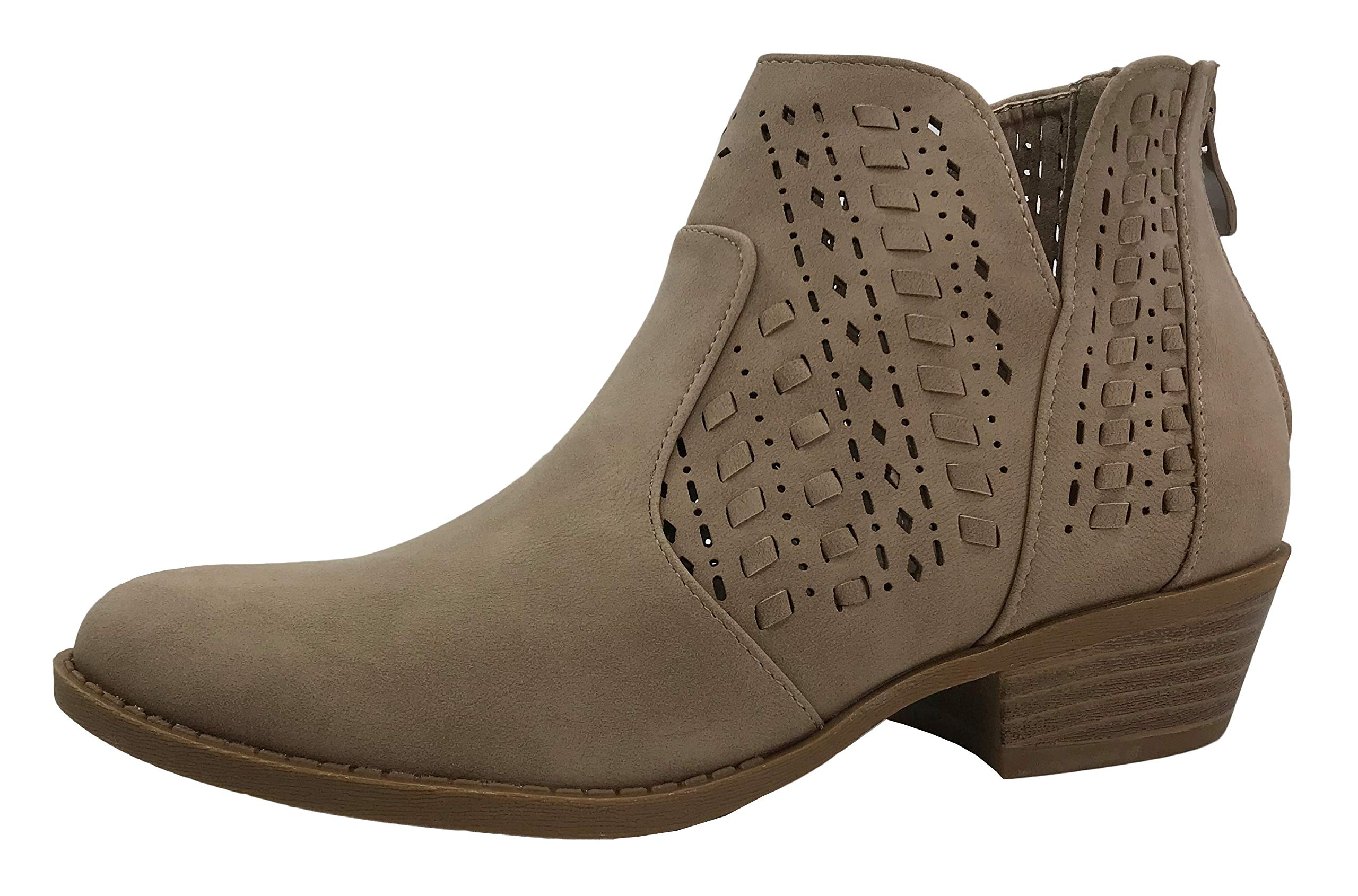Top Moda Women's Ankle Bootie Perforated Side V Cut Low Chunky Stacked Heel, Khaki, 8.5