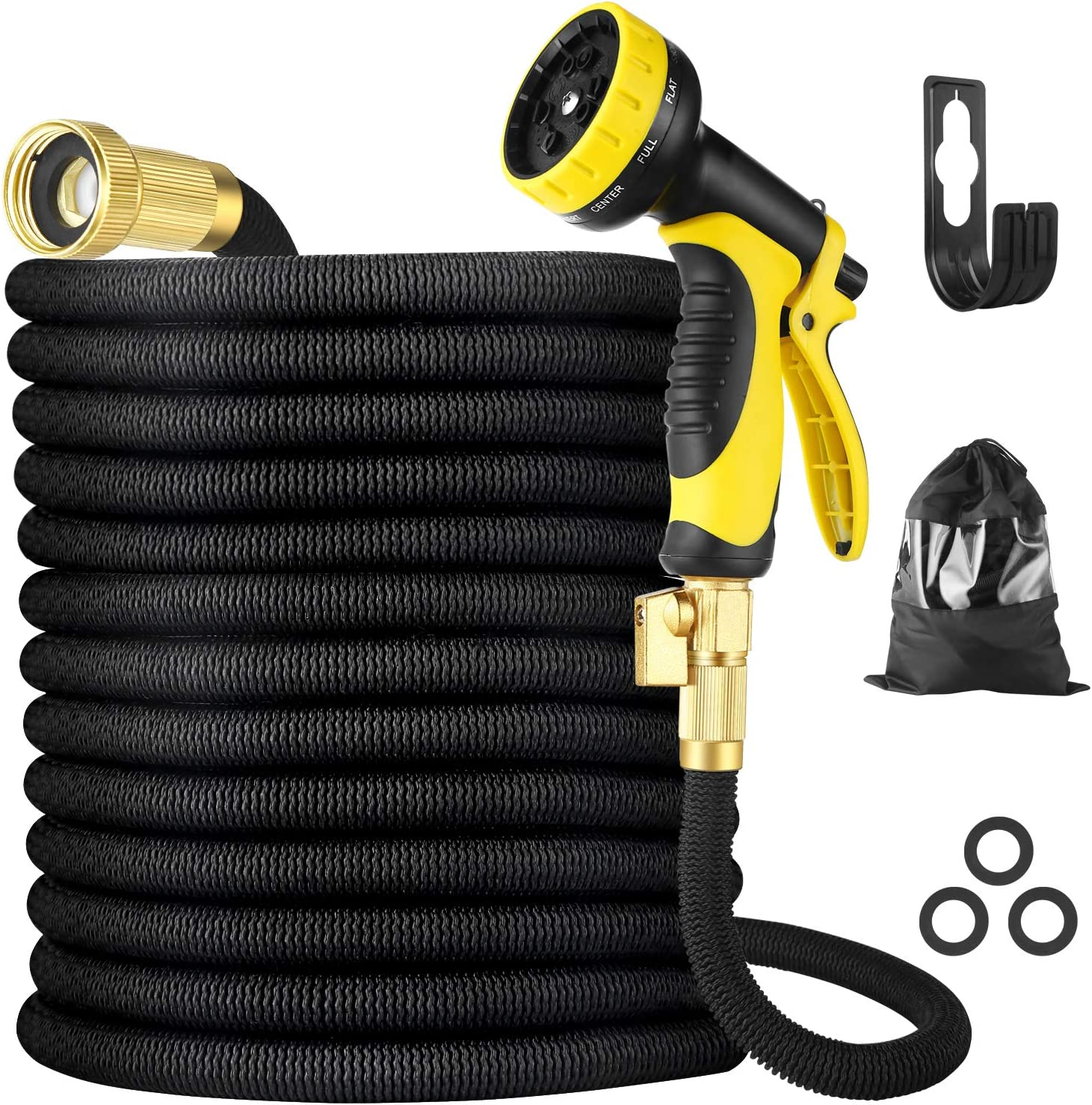 """BBwin Expandable Garden Hose 25ft 10 Function Spray Nozzle Flexible Water Hose with 3/4"""" Solid Brass Fittings Leakproof Design"""