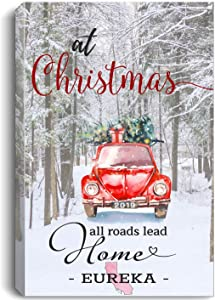 """Christmas Canvas Wall Art 16""""x24"""" for Home Decor Eureka California CA State - at Christmas All Roads Lead Home with Merry Christmas Red Truck and Snow Decorated Tree"""