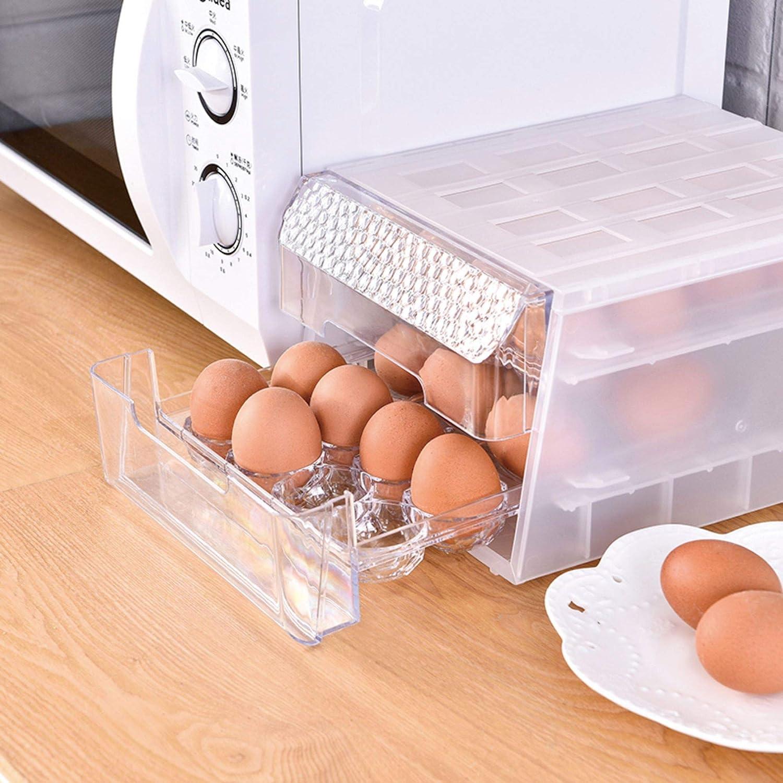 para Refrigeradores Armarios de Cocina Vajilla Caja de Almacenamiento de 24 Huevos Huevera Transparente 24 Andejas de Pl/ástico para Huevos 24 congeladores Refrigeradores