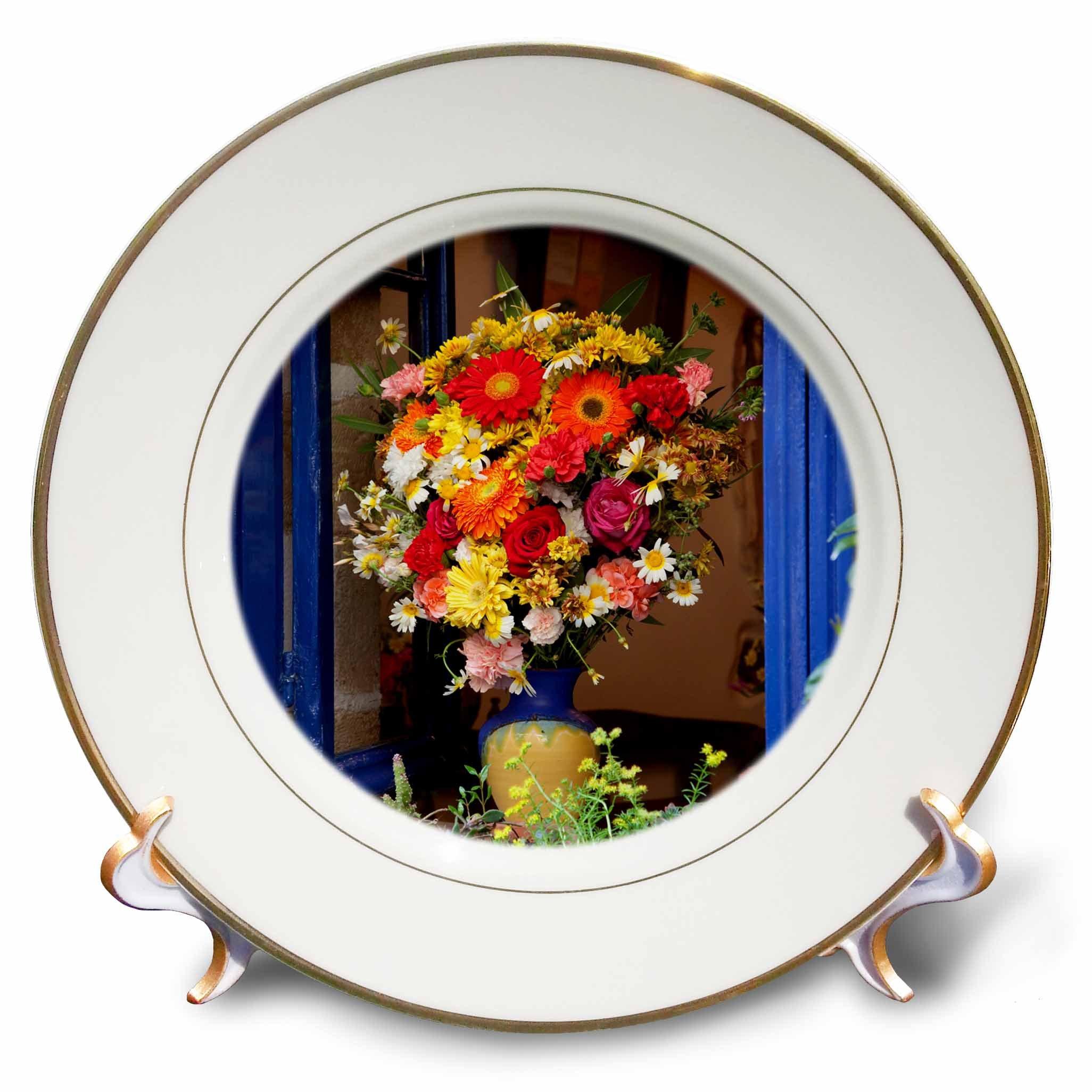 3dRose Danita Delimont - Flowers - Greece, Crete, Window with flowers - 8 inch Porcelain Plate (cp_277435_1)