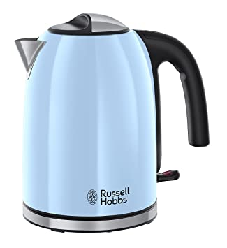 Russell Hobbs Colours Plus - Hervidor de Agua Eléctrico (2400 W, 1,7l, Acero Inoxidable, Azul Cielo) + Colours Plus - Tostadora (2 Ranuras Anchas, ...