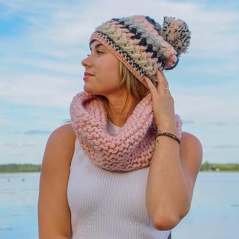 8f8fe9c030b Women s Hand Knit Wool Crochet Fleece Lined Pom Pom Beanie Hat Pink at  Amazon Women s Clothing store