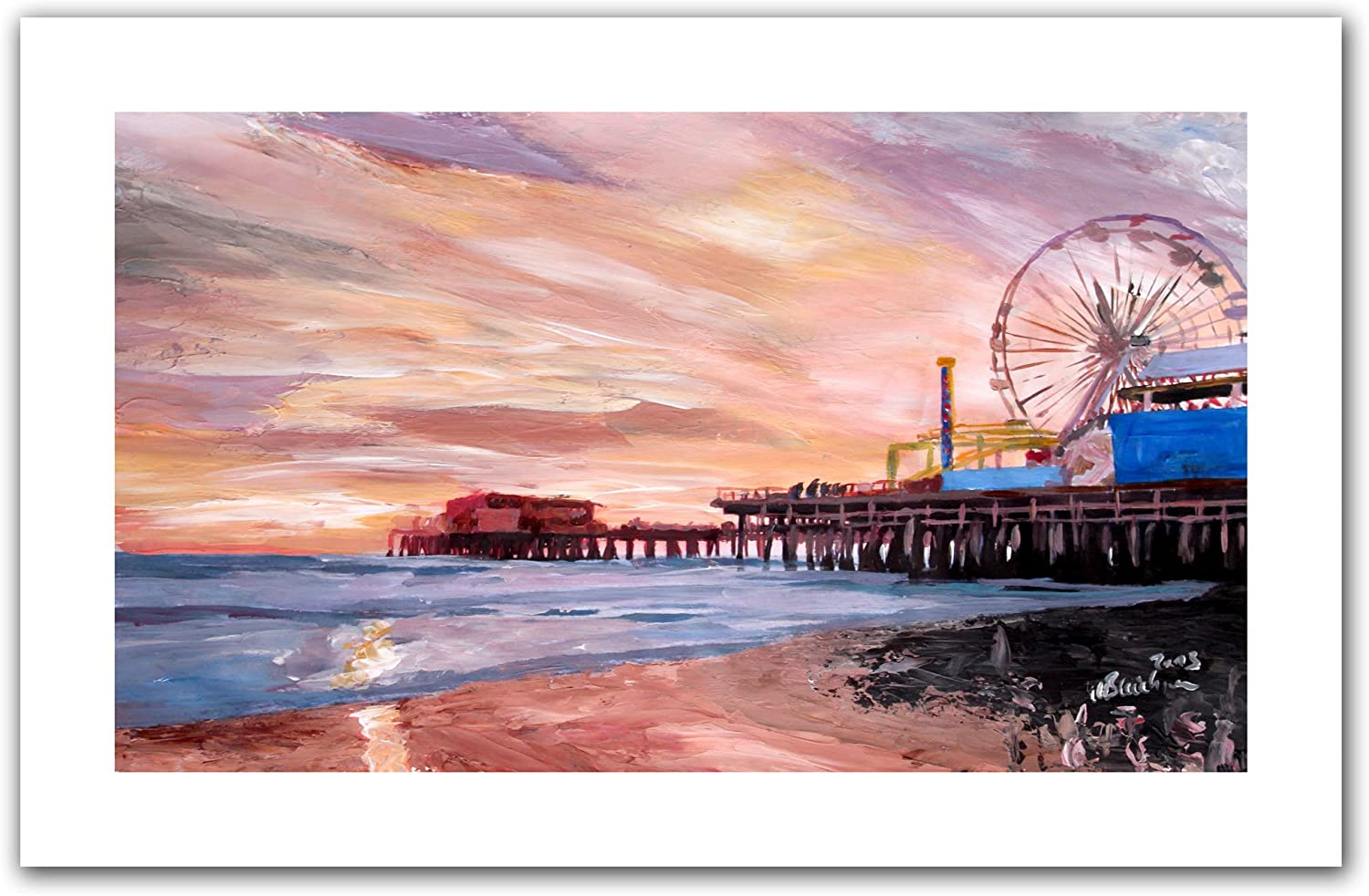 Amazon Com Art Wall Santa Monica Pier At Dusk Unwrapped Canvas Artwork By Markus Bleichner 18 By 28 Inch Prints Posters Prints