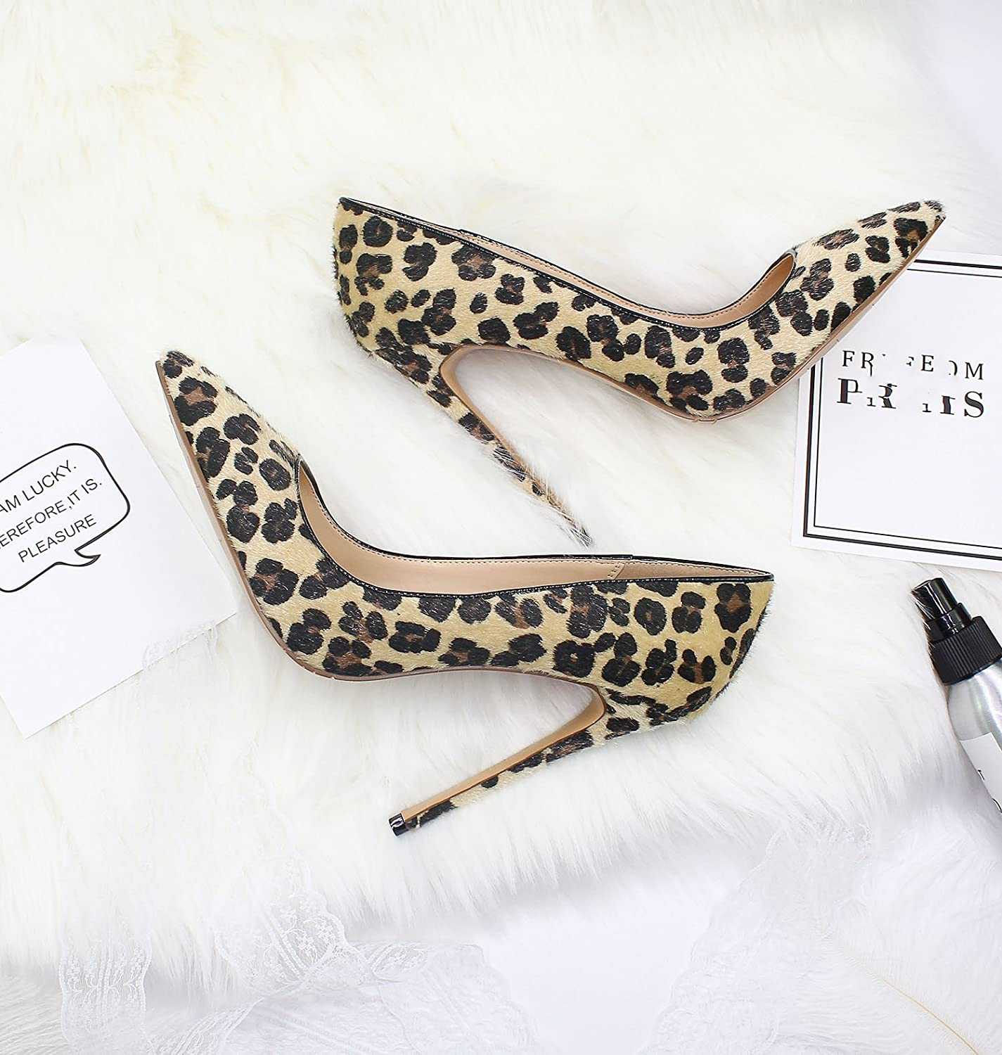 AliExpress Ebay Animal Texture Pointed 12 cm high Heel Womens Shoes