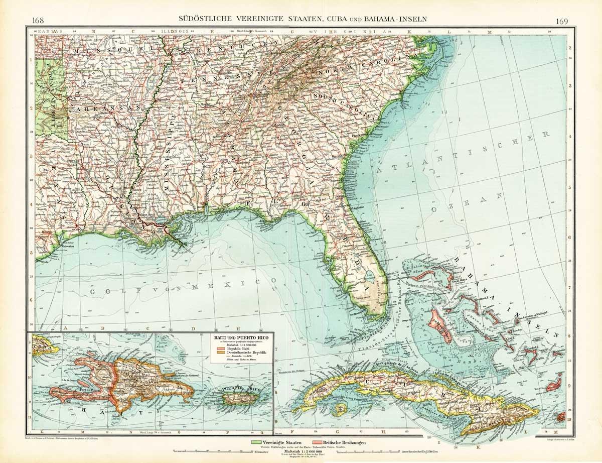 Map Of Florida Cuba And Puerto Rico.Amazon Com Antique Map South East America Usa United States Florida