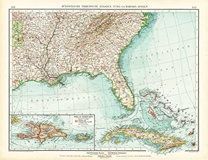 Amazon.com: Antique Map-SOUTH EAST AMERICA-USA-UNITED STATES ...