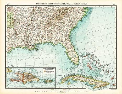Amazon.com: Antique Map-SOUTH EAST AMERICA-USA-UNITED STATES-FLORIDA ...
