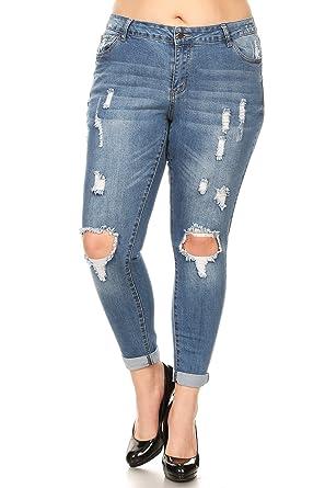 50743cf667fa wax jean Plus Size Women's Low Rise Distressed Denim Skinny Jeans (14,  Medium Wash