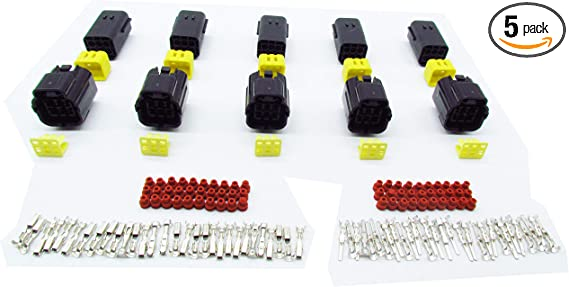 CNKF 5 Sets AMP Denso 3 Pin way male female adapter auto Waterproof Electrical Wire sensor Connector Plug