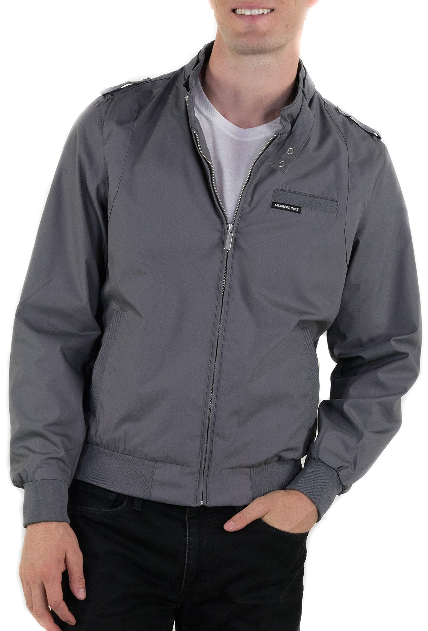 Members Only Men's Original Iconic Racer Jacket, Grey, Medium by Members Only