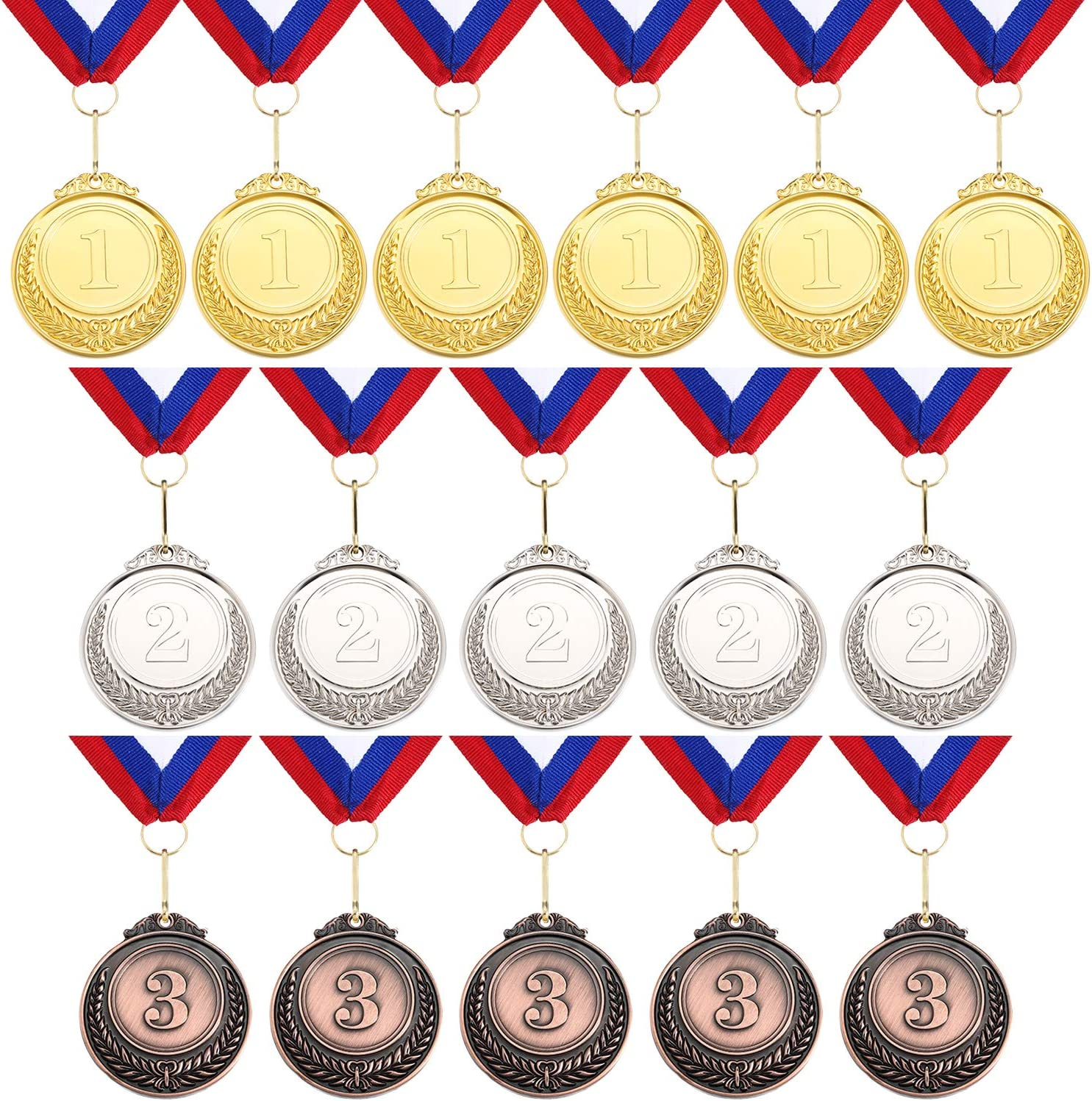 Blulu 12 Pieces Gold Sliver Bronze Metal Winner Medals Gold Sliver Bronze Olympic Style Awards Medals with Ribbon