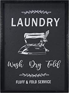 "NIKKY HOME 15"" x 20"" Wooden Framed Laundry Room Sign Wash Dry Fluff and Fold Service, Black"