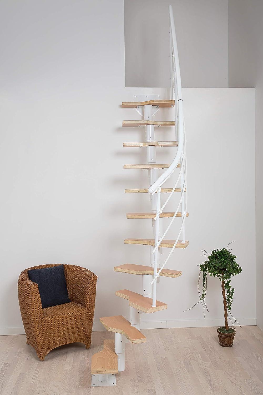 Escaleras de ahorro de espacio, color blanco/haya, con peldaños de madera, incluye barandilla, altura 222 – 276 cm, variable: recta hasta giro 1/4, fácil montaje: Amazon.es: Bricolaje y herramientas
