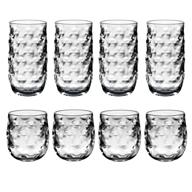 QG Clear Light Grey Acrylic Plastic 14 & 23 fl oz. Cup Drinking Glass Tumbler Set of 8
