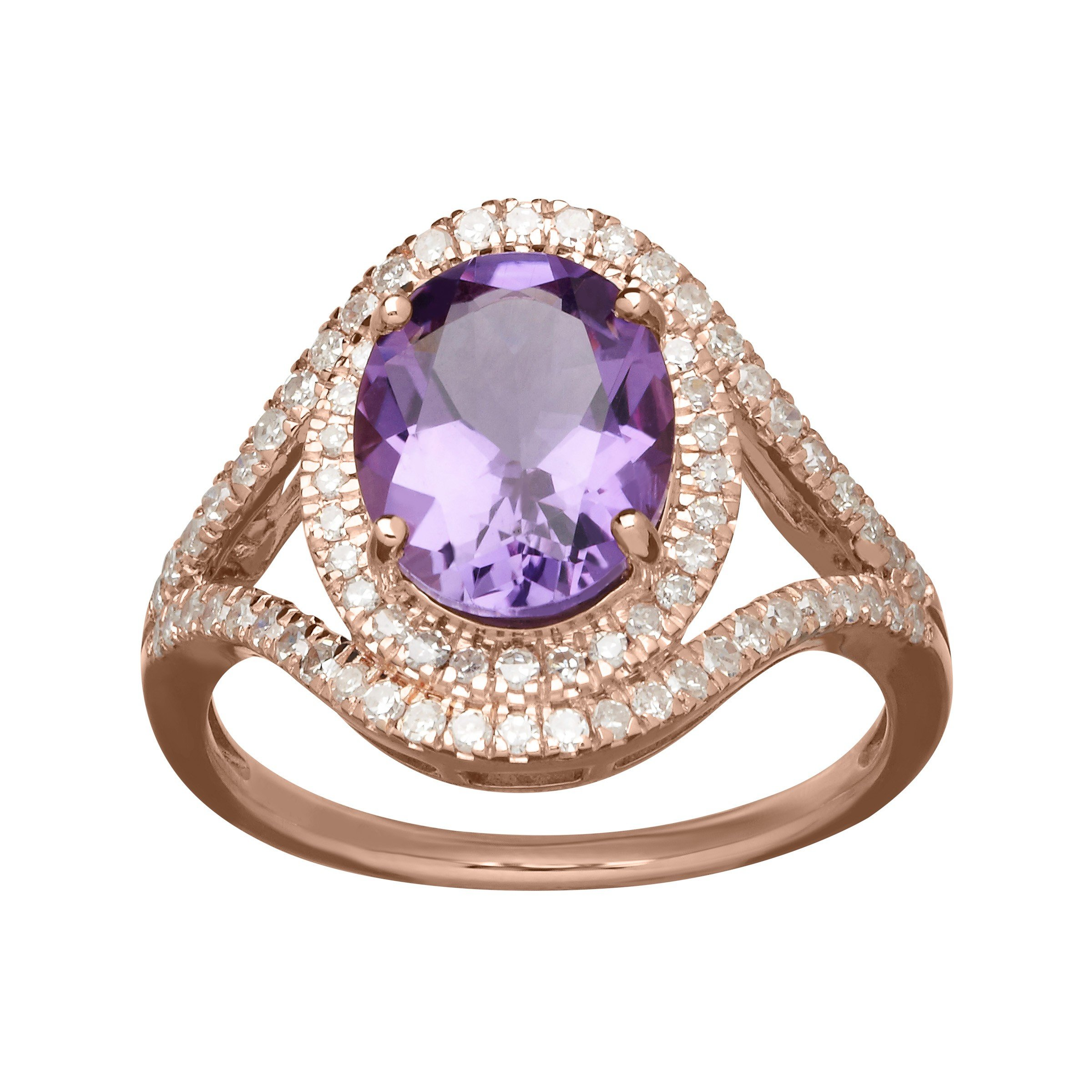 2 3/8 ct Amethyst & 3/8 ct Diamond Ring in 10K Rose Gold Size 7