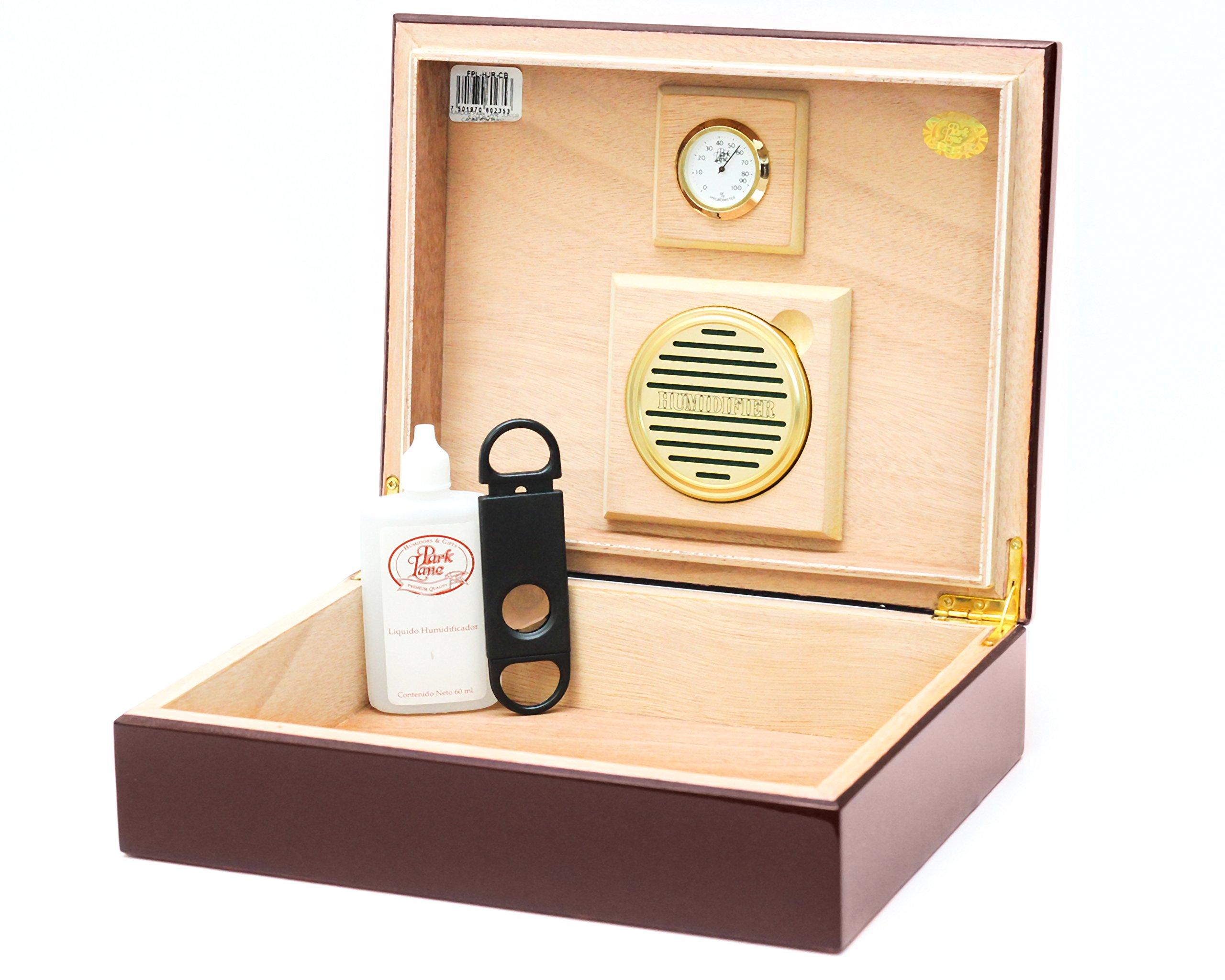 BCIC Cigar - 25 Cigar, Latin-American Made Desktop Humidor - Gloss Burgundy by BCIC Cigar