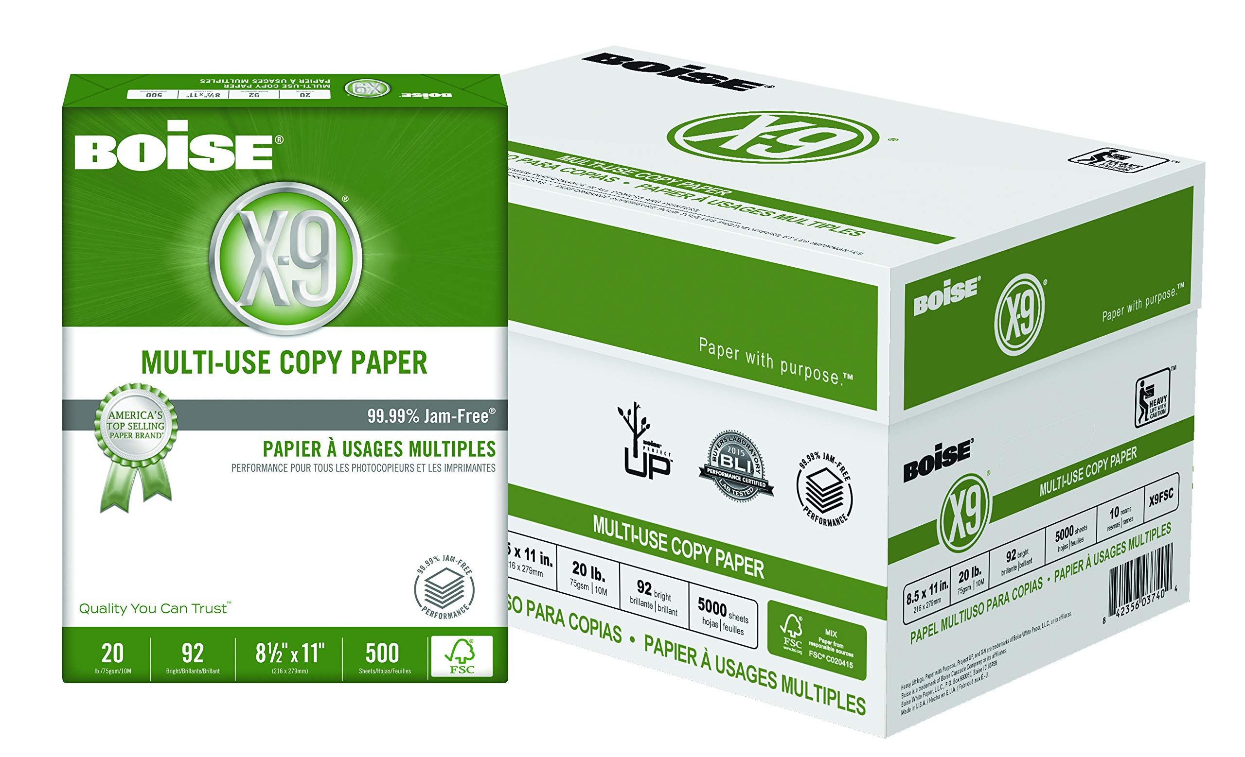 """Boise X-9 Multi-Use Copy Paper, 8.5"""" x 11"""", 92 Bright, FSC Certified, 20 lb, 10 Ream Carton (5,000 Sheets)"""