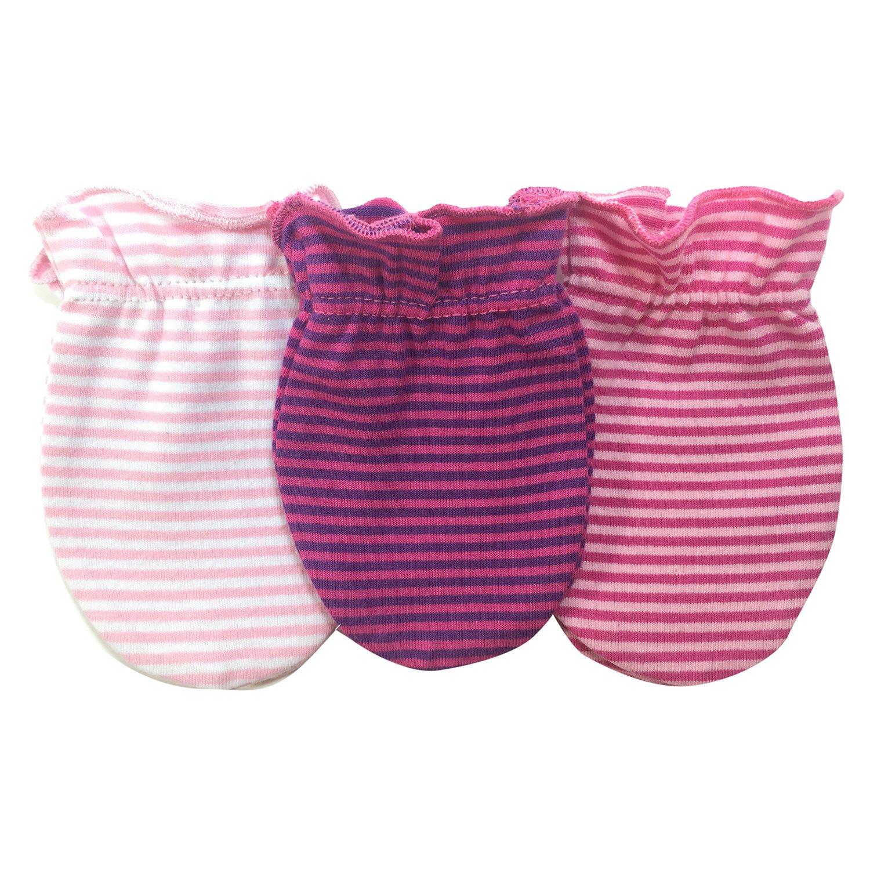 Sozo Striped Girls No Scratch Mitten Accessories, 3 pairs, One Size MITT01