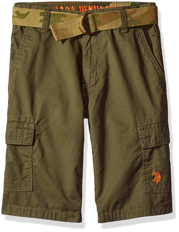 U.S. Polo Assn. Boys' Twill Cargo Short with Camo Belt HP25