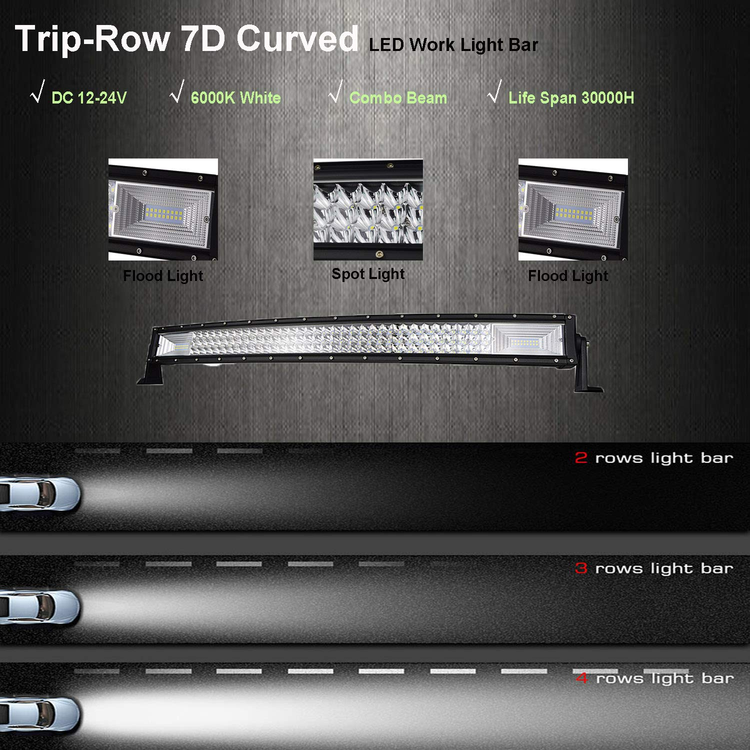 4x4 Jeep ATV 4WD 22 inch 270W Triple Row Spot Flood Combo Beam Off-road Driving Fog Light for Offroad BIGSEASON Curved LED Light Bars SUV Boat Pickup Truck Boat