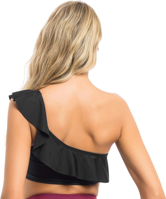 coastal rose Womens Bikini Top One Shoulder Swimsuit Ruffle Top Swimwear
