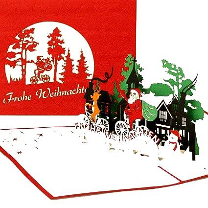 Karte Weihnachten.3d Weihnachtskarte Weihnachtsmann Rentier Lustige Pop Up Karte Zu Weihnachten Als Weihnachtskarten Mit Umschlag Geschenkverpackung Gutschein