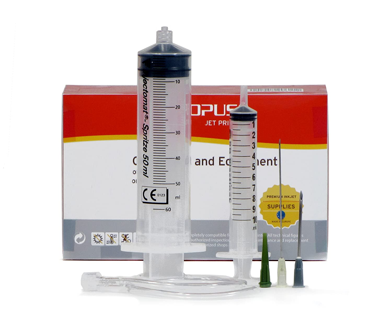 Syringe set for use as dosing syringe, rinsing syringe, pasting syringe, marinating syringe, barbecue syringe, brining syringe, feed syringe, etc. Octopus Concept GmbH