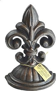 Lulu Decor, Fleur De Lis Sculpture, Door Stop, 2 Lbs, Door Stopper (Antique Black)