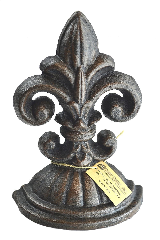 Fleur De Lis Sculpture, Door Stop, 2 Lbs, Door Stopper (Antique Black)