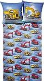 """Fein Biber Kinder Bettwäsche """" Los geht´s ! """" Baustelle LKW & Bagger Fahrzeuge - 2 tlg. 80x80 + 135x200 - hergestellt in Deutschland"""